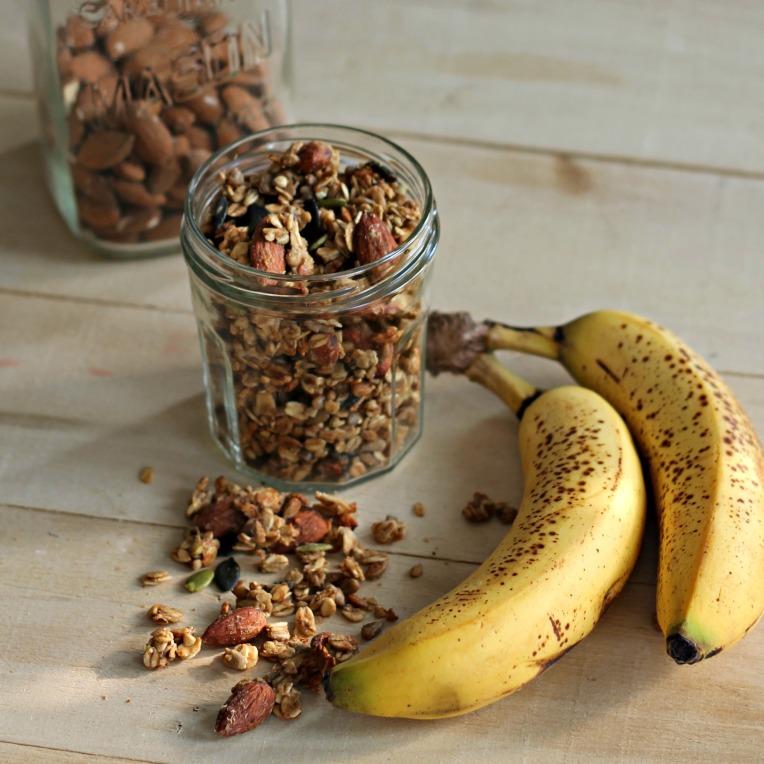 Granola aux bananes et au beurre d'arachides