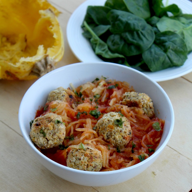 Spaghetti Squash and Chickpea Meatballs